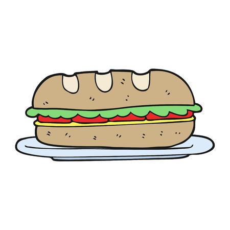 sub: freehand drawn cartoon sub sandwich
