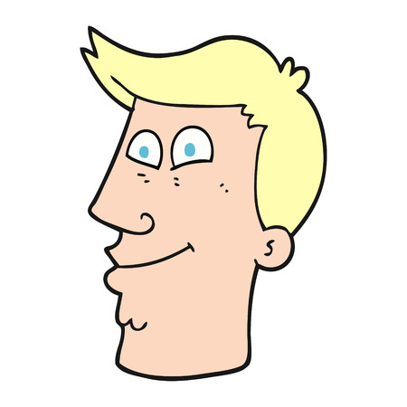 male face: freehand drawn cartoon male face