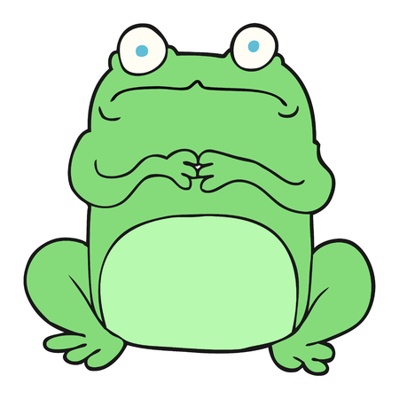 crazy frog: freehand drawn cartoon nervous frog