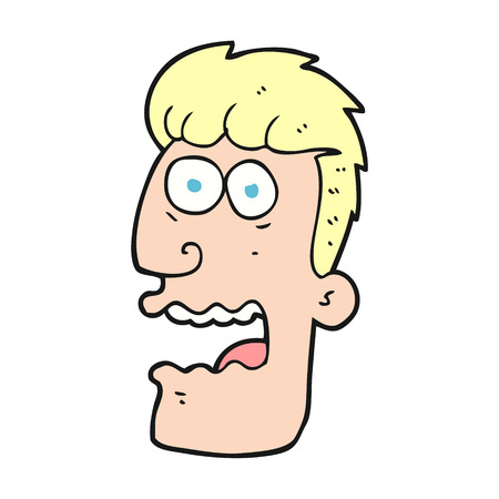 freehand drawn cartoon shocked man