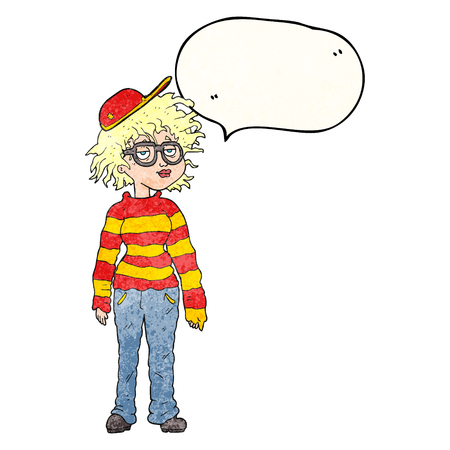 geeky: freehand drawn texture speech bubble cartoon geeky girl