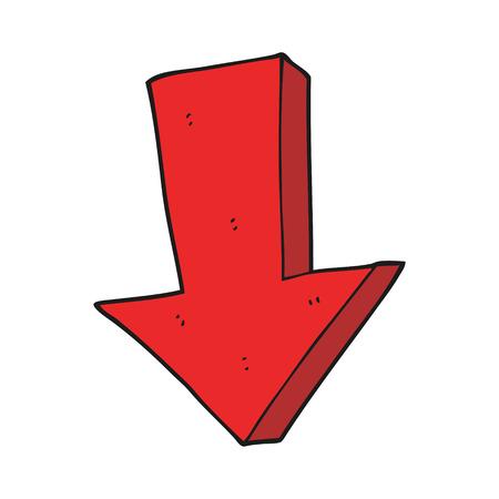 freehand drawn cartoon arrow pointing down
