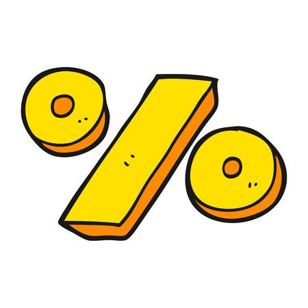 a mano libera cartone animato disegnato il simbolo di percentuale