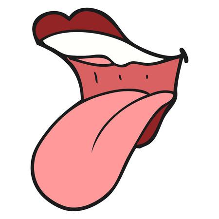 sacar la lengua: a mano alzada boca dibujo animado hecho sacar la lengua