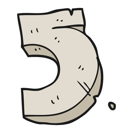 numbers clipart: freehand drawn cartoon stone number five Illustration