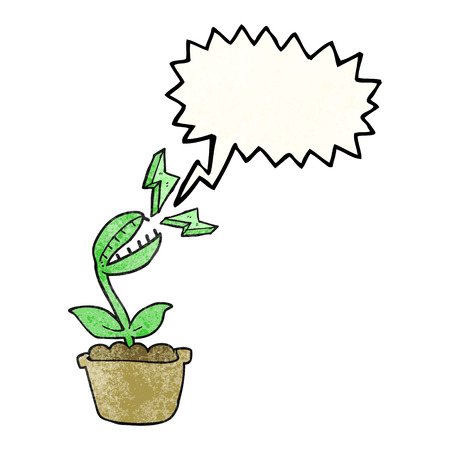 venus: freehand drawn texture speech bubble cartoon venus fly trap