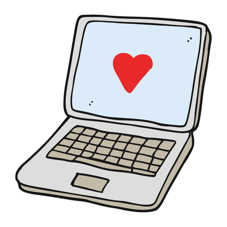 Freehand Drawn Cartoon Laptop Computer With Heart Symbol On Screen