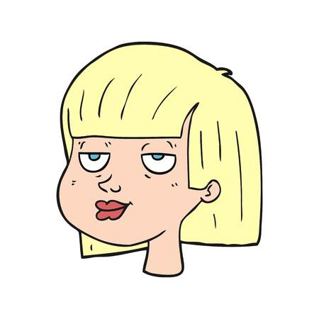 satisfied expression: freehand drawn cartoon female face