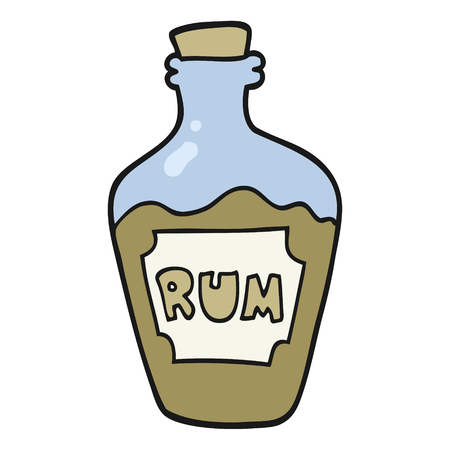rum: freehand drawn cartoon rum bottle