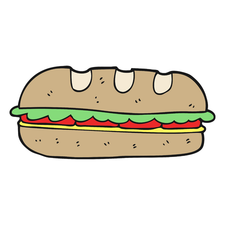 huge: freehand drawn cartoon huge sandwich