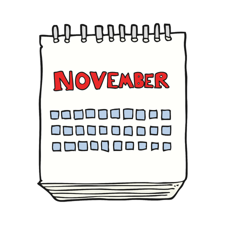 november: freehand drawn cartoon calendar showing month of november