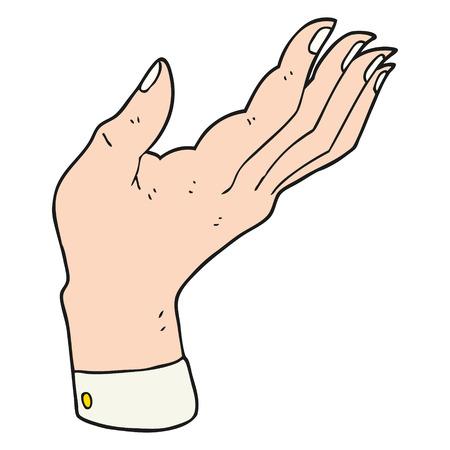 hand raised: freehand drawn cartoon open hand raised palm up Illustration