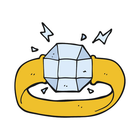 gem: freehand drawn cartoon ring with huge gem