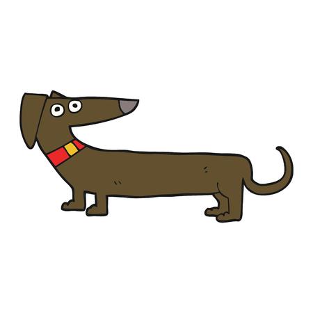 sausage dog: freehand drawn cartoon sausage dog