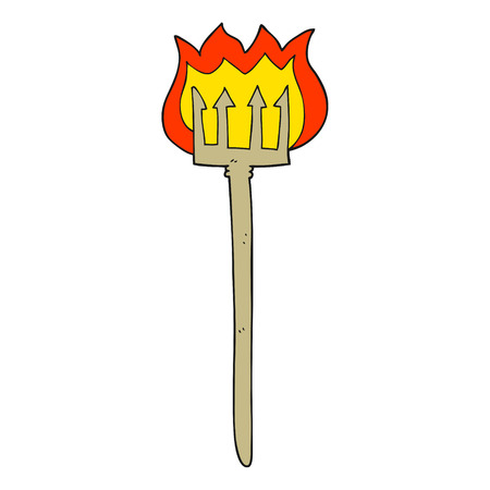 flaming: freehand drawn cartoon flaming devil fork