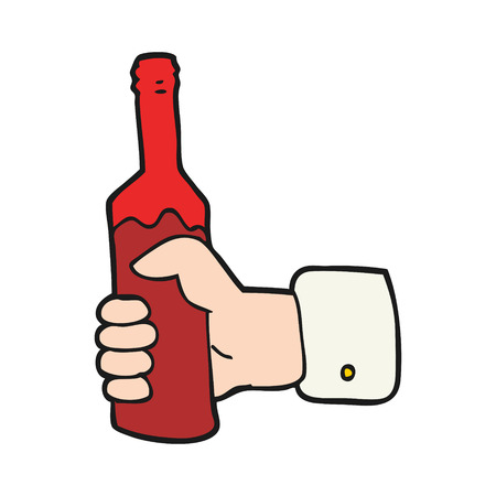 hand holding bottle: freehand drawn cartoon hand holding bottle of wine