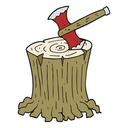cartoon axe: freehand drawn cartoon axe in tree stump