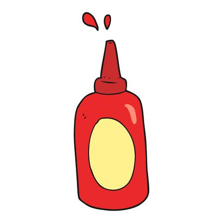 ketchup bottle: freehand drawn cartoon ketchup bottle