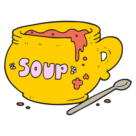 soup bowl: freehand drawn cartoon bowl of soup