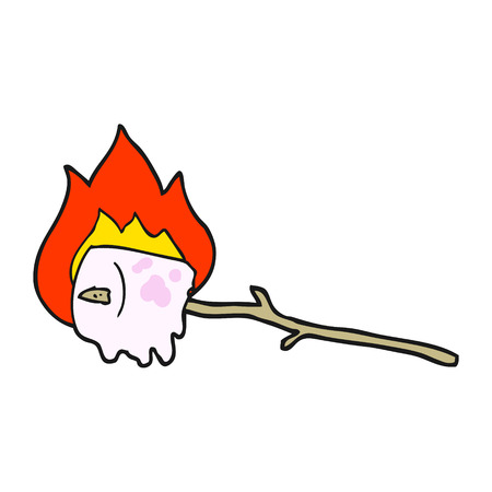 burning: freehand drawn cartoon burning marshmallow Illustration