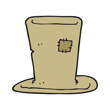top hat cartoon: freehand drawn cartoon tramp top hat