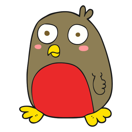christmas robin: freehand drawn cartoon christmas robin