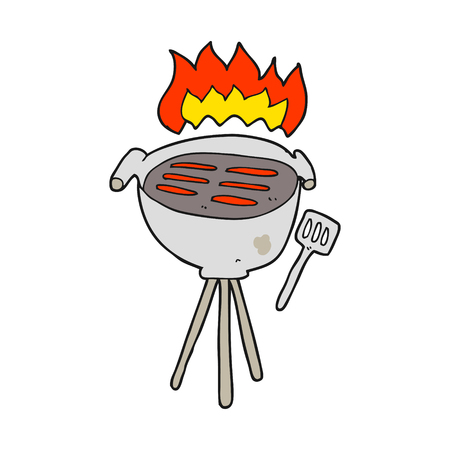 freehand: freehand drawn cartoon barbecue
