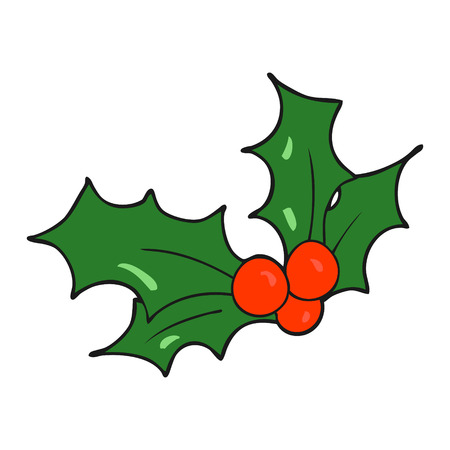 hand free: freehand drawn cartoon christmas holly Illustration