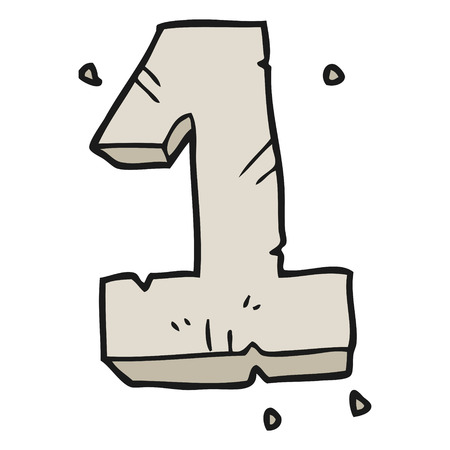 numbers clipart: freehand drawn cartoon stone number one