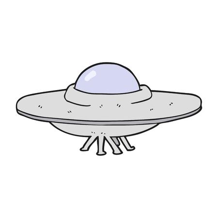 platillo volador: platillo volante a mano alzada dibujo animado hecho Vectores