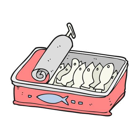 sardinas: dibujado a mano alzada de dibujos animados lata de sardinas