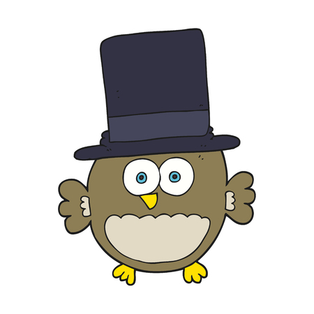 top hat cartoon: freehand drawn cartoon owl in top hat Illustration