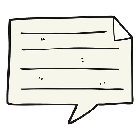 taking notes: freehand drawn cartoon notes speech bubble
