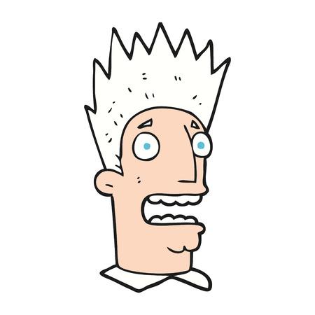 shocked man: freehand drawn cartoon shocked man