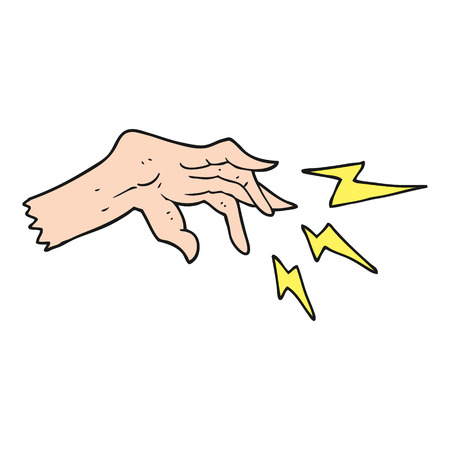 spell: freehand drawn cartoon hand casting spell