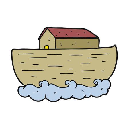 ark: freehand drawn cartoon noahs ark Illustration