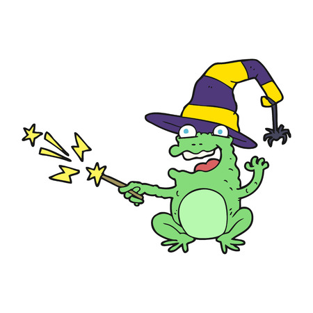 spell: freehand drawn cartoon toad casting spell