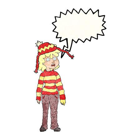 sad teenage girl: freehand drawn texture speech bubble cartoon teenager