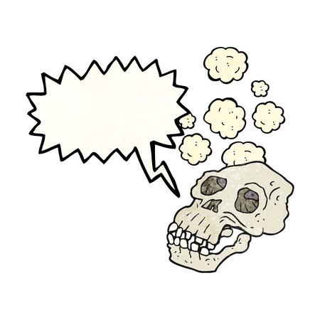 proto: freehand speech bubble textured cartoon ancient skull