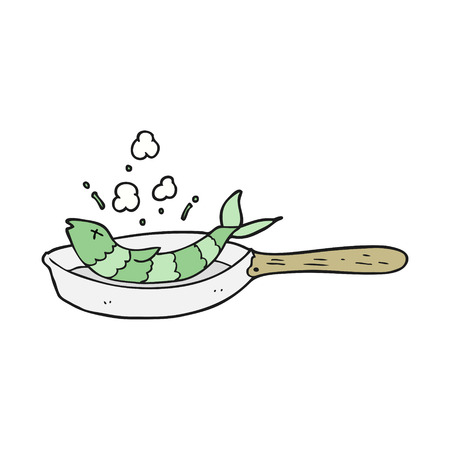 frying: freehand drawn cartoon frying fish Illustration