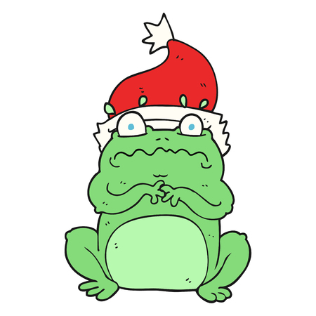 christmas frog: freehand drawn cartoon frog in christmas hat