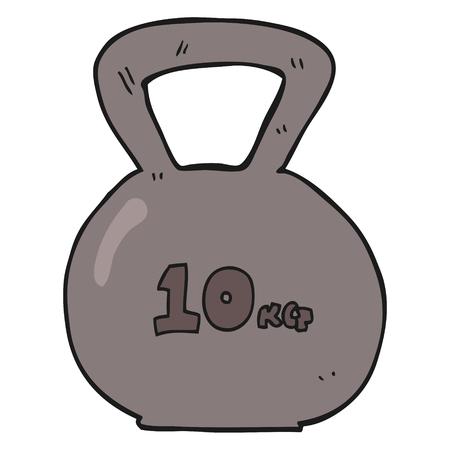 kettle bell: freehand drawn cartoon 10kg kettle bell weight