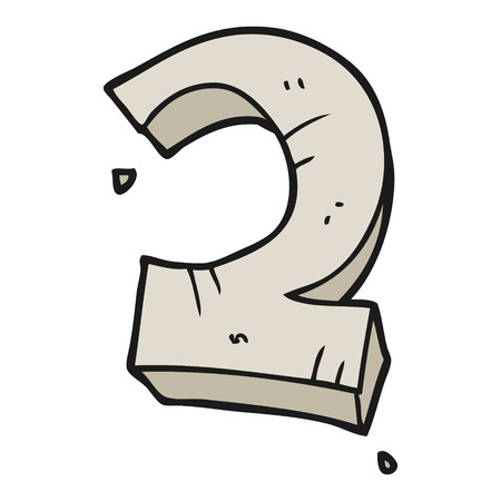 numbers clipart: freehand drawn cartoon stone number two
