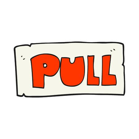 cartoon door: freehand drawn cartoon door pull sign