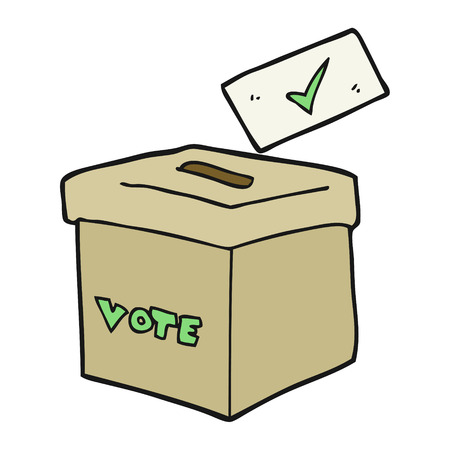 free vote: freehand drawn cartoon ballot box