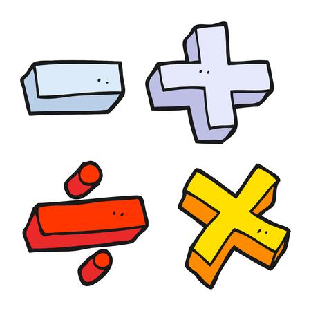 matematica: dibujado a mano alzada símbolos matemáticos de dibujos animados