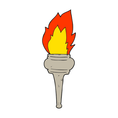 flaming: freehand drawn cartoon flaming torch Illustration