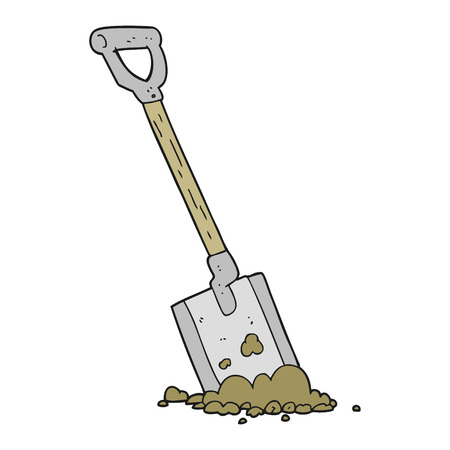 shovel in dirt: freehand drawn cartoon shovel in dirt