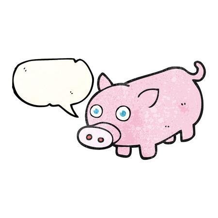 piglet: freehand speech bubble textured cartoon piglet
