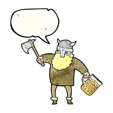 tankard: freehand speech bubble textured cartoon drunk viking
